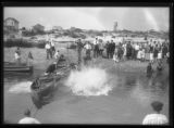 Crowds watching a swimming competition in a beachside inlet, Brooklyn or Queens, undated (ca....