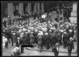 Crowd listening to a speaker on the corner of Wall Street and Nassau Street, New York City, July...