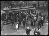 Passengers disembarking from the Broadway and 242nd Street streetcar, New York City, June 7, 1914.