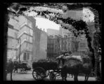 Horse-powered building demolition and construction, Maiden Lane, New York City, undated (ca....