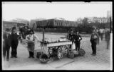 Dorlon's on wheels' mobile oyster vendor, possibly owned by one of the Dorlon's of Fulton Market,...