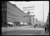 Unidentified intersection of West 44th Street, with Tammany banner for John E. Dordan strung...