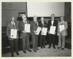 Clarence Petty, Paul Schaefer, Barney Fowler, Ed West, David Newhouse, and Norman  Van Valkenburg at the Adirondack...