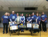 Library staff VFW food collection for Christmas 2014