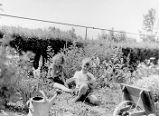 Margaret and Darwin M. Foster holding kittens while seated in Graycliff garden with wheelbarrow...