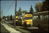 Buses lined up at the emergency evacuation pickup point outside Love Canal Rings 1 and 2