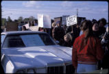 Love Canal protesters gather near car with 'Save our children' sign on windshield, to organize...