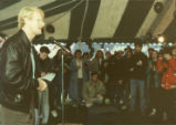 Ed Begley, Jr. speaking at the rally against resettlement of the Love Canal area