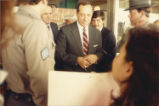 Demonstrators meet with New York Governor Mario Cuomo at the rally against CECOS landfill...