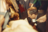 Child demonstrator meets New York Governor Mario Cuomo at the rally against CECOS landfill...