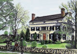 Buffalo Seminary Larkin House: 1999 Junior League Decorators' Show House (hand colored drawing).