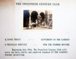 Announcement  for Summer luncheon in the garden at the Twentieth Century Club of Buffalo