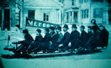 Men on Meteor bobsled