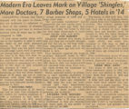 "Modern Era Leaves Mark on Village ""Shingles,"" More Doctors, 7 Barber Shops, 5 Hotels in..."