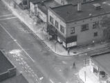 Aerial view of police on Joseph Avenue and Morris Street after riot, Rochester, NY, 1964