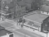 Aerial view of Clinton Avenue North and Ward Street after riot, Rochester, NY, 1964
