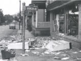 Debris on corner of Clarissa Street and Bronson Avenue after riot, Rochester, NY, 1964