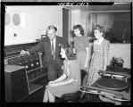 Al Knapp, WGY engineer explaining control room to Mrs. Betty Bower, Miss Jean Clark and Mrs. Maude...