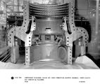 Compressor discharge casing and inner combustion wrapper assembly, upper halves.  Gas turbine...