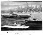 Artist's conception of USS Saratoga, Moore-McCormack liner and mariner type vessel, against New...