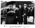 Captain Robert Joseph Stroh accepts model of USS Saratoga, CV-3. Left to right, Captain Stroh,...