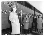 "Chester Lang speaking at the dedication of """"Apparatus Train"""" in the..."