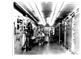 "Inside the """"floating"""" control room at the General Electric Company's jet..."