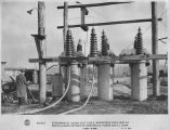 Experimental 110,000 volt cable undergoing field test at North Albany Station of Adirondack Power...
