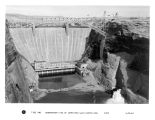 Downstream view of completed Glen Canyon Dam
