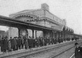 People on train platform, Union Station, Schenectady