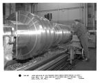 Lathe machining of high pressure steam turbine rotor forging in LST-G - Bldg. 273 - F-3.  Photo...