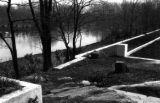 Cement terraces overlooking pond