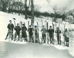Undated photograph of students skiing at Hartwick Seminary