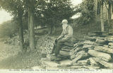 Postcard of John Burroughs at his birthplace in Roxbury, N.Y