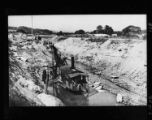 Building Lock 16 Barge Canal at Minden, NY with dredge in center