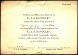 Mrs. John Seaton's Invitation to the Commissioning of the USS Randolph
