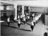 Gymnastics class in the auditorium basement, University at Albany