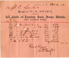 Invoice for lumber purchased from W. S. Swift, Farlin, N.Y., October 6, 1892.