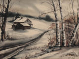 Winter Scene with House and Birch Trees