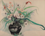 Black Vase with Flowers