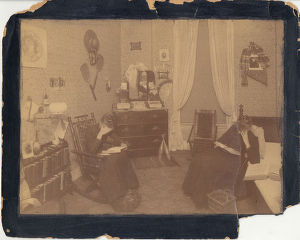 Cowles Hall room 69 ca. 1890 two women in rockers