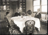 Glen Knob, Bowers Farm, dining room with Lamont Bowers, Fanny Bowers, Clement Bowers and Frances...