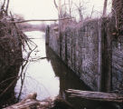 Remains of Genesee Valley Canal Lock 34, looking toward the lower gate, in Nunda, N.Y.
