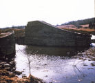 Remains of the lower gate of Genesee Valley Canal Lock 35 in the town of Nunda, N.Y.