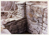 Remains of the upper gate and sill of a Genesee Valley Canal lock at Mount Morris, N.Y.