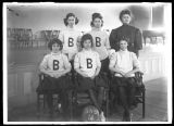 Brockport Normal School Girl's Basketball team with coach 1906