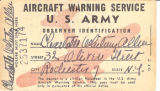 U.S. Army Aircraft Warning Service Observer Identification card for Charlotte Whitney Allen