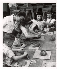 Children from School # 5 Hearing Conservation Class in Creative Workshop clay modeling class 1959....