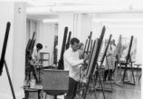 Adult Painting Class Creative Workshop in new studio, basement of Cutler Union November 1966,...