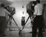 Television broadcast practice, Ithaca College, Ithaca, NY, group picture of woman performer &...